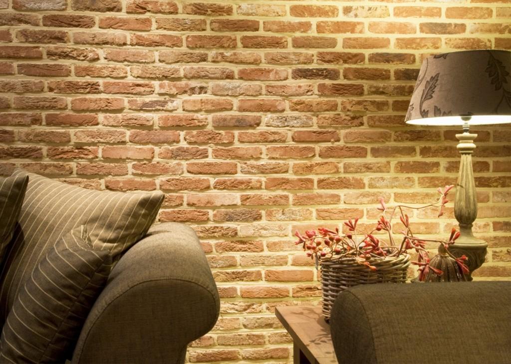 Lícové cihly Oud Brabant v interiéru