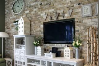 obývací stěna z obkladových pásků