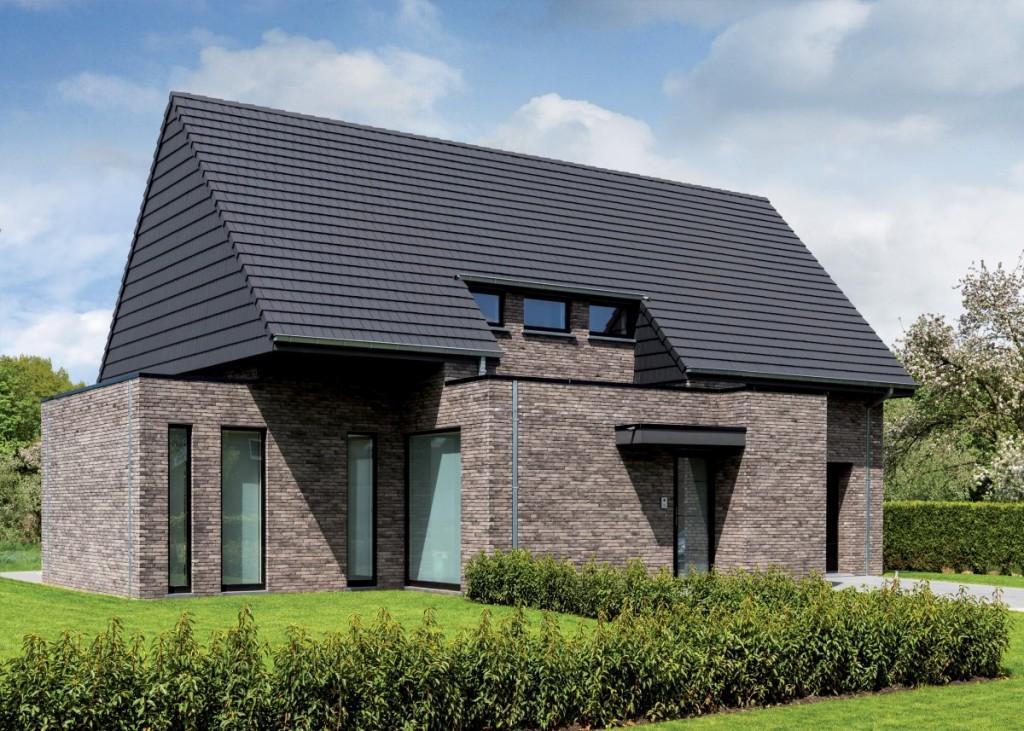 Dům obložený cihlovými pásky Pagus Grijs Zwart